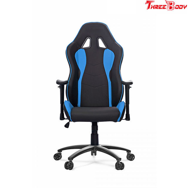 Swivel Black And Blue Leather Gaming Chair With Lumbar Support System