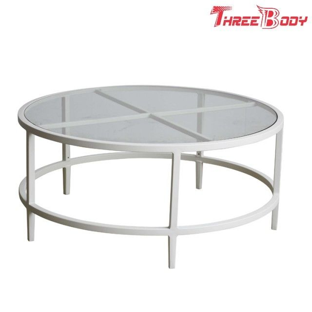 Komercyjne Meble Ogrodowe Zewnętrzne Biały Metalowy Stolik