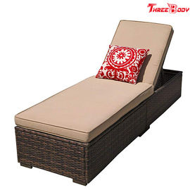 Patio Chaise Outdoor Lounge Sofa Regulowana wysokość z poduszką Espresso Brown